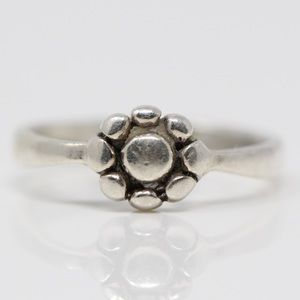 Sterling Silver Dainty Flower Pinky Ring 3.75